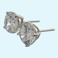 14K White Gold CZ Solitaire Post Earrings 3.5 Carat Estimated Total Weight