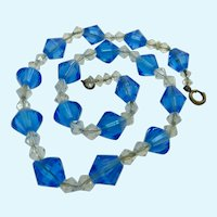 Vintage Faceted Blue Clear Crystal Bead Necklace 925 Clasp