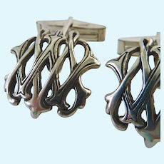 Sterling Silver 925 Cuff Links Initials W and M Intertwined Signed