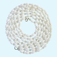 Long White and Clear Glass Bead Necklace Over 62 Inches