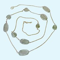 Sterling Silver 925 Vermeil Toggle Necklace with Pale Green Quartz Stations Signed Over 38 Inches