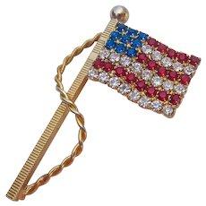 Red White Blue Rhinestone American Flag Pin
