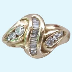 Exceptional 14K Gold Channel-Set Multi-Diamond Ring