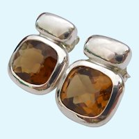 Sterling Silver 925 Citrine Post Earrings
