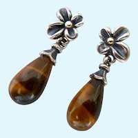 Sterling Silver & 18K Gold Tiger Eye Earrings Signed Ann King