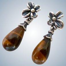 Sterling Silver & 18K Gold Tiger Eye Earrings Signed Ann King