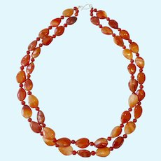Jay King Mine Finds Carnelian Necklace 2 Strands Sterling Silver 925 Clasp