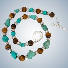 Sterling, Turquoise and Tiger Eye Necklace Joseph Esposito ESPO-Sig