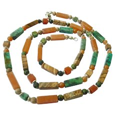 Earthy Gemstone Necklace Sterling Silver 925 Clasp