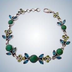 Nicky Butler Sterling Silver 925 Bracelet Blue Topaz, Peridot & Green Turquoise