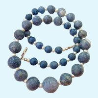 Graduated Mottled Blue Stone Bead & Cultured Pearl Necklace Sterling 925 Clasp