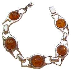 Sterling Silver 925 Amber Bracelet Polish Hallmarks