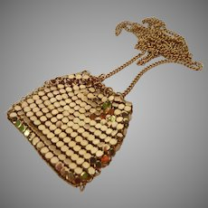Gold Tone Necklace with Mesh Pocket Pendant
