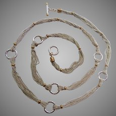 Ralph Lauren Two Tone Multi-Strand Necklace with Circle Stations and Toggle Clasp