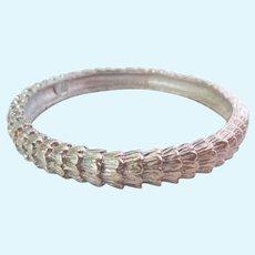 Signed KL Karl Lagerfeld Silver Tone Textured Bangle Bracelet