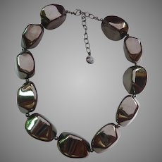 "Huge Shiny Gray ""Boulder"" Necklace Graziano"