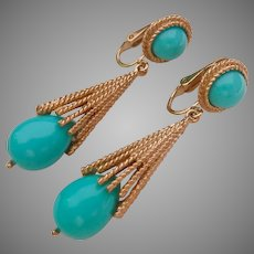 Avon Gold Tone Turquoise Color Dangle Drop Clip Earrings