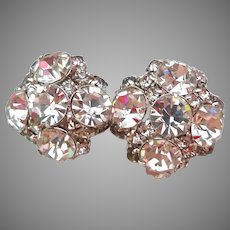 Incredibly Sparkly Rhinestone Cluster Clip Earrings