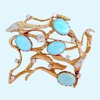 Exquisite 14K Gold Freeform Brooch Diamond and Persian Turquoise Brooch