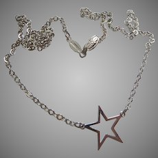 Sterling Silver 925 Choker Necklace with Star Station