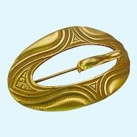 Large Brass Tone Buckle Brooch