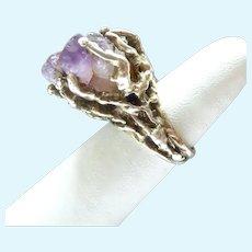 Amazing Brutalist Sterling Silver 925 Raw Amethyst Quartz Crystal Ring