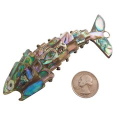 Huge Abalone Shell Articulated Fish Pendant