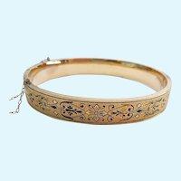 14K Gold Filled Taille d'Epargne Hinged Bangle Bracelet Engraved Signed Dated