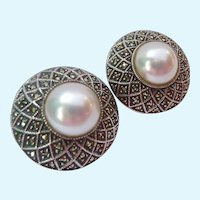 Judith Jack Sterling Silver 925 Marcasite Faux Pearl Domed Clip Omega Back Earrings