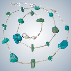 Sterling Silver 925  Necklace with Turquoise & Aventurine Nugget Stations Shube Dakota West