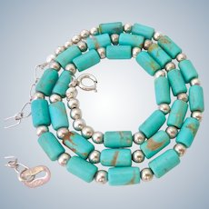 Sterling Silver 925 Turquoise Necklace Signed