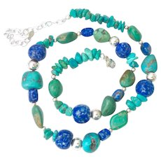 Sterling Silver 925 Turquoise and Sodalite Gemstone Necklace Signed