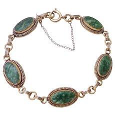 12K Gold Filled Green Gemstone Bracelet