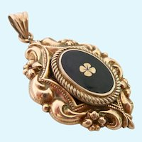 800 Silver Vintage Clover Pendant with Gold Overlay