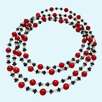 Coral, Crystal & Sterling Silver Necklace 54 Inches Endless