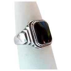 Art Deco Sterling Silver 925 Black Onyx Ring