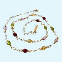 Napier Open Link Necklace with Jewel Tone Glass Bead Stations