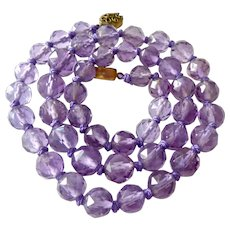 Faceted Amethyst Bead Necklace Silver Filigree Clasp Hand Knotted