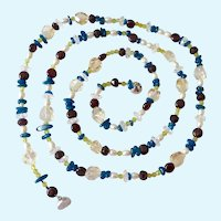 Long Multi-Gemstone Necklace Sterling Silver 925 Magnetic Clasp Over 41 Inches