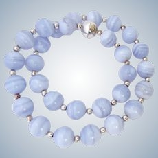 Sterling Silver 925 Blue Lace Agate Necklace Magnetic Clasp Milor Italy