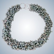 Seven (7) Strand Silvery Gray Pearl Necklace Sterling Clasp Ross Simons Original Box