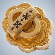 Victorian Taille d'Epargne Pin Brooch