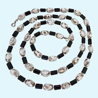 Silver Foiled Glass and Black Bead Necklace 36 Inches