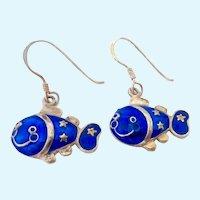Sterling Silver 925 Enamel Happy Fish Dangle Earrings