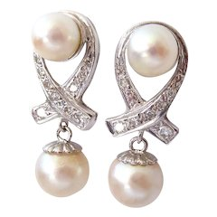 14K Gold Diamonds and Cultured Pearl Omega Back Pierced Earrings