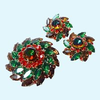 Judy Lee Brooch & Earrings Set Spectacular Colors Layered Design