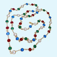 Swarovski Jewel Tone Crystal Station Necklace 32 Inches