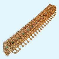 Exceptional Wide Chain Maille Bracelet Gold Over 935 Silver Persian Turquoise