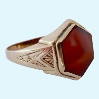 10K Gold Carnelian Art Deco Ring