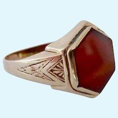 10K Gold Carnelian Art Deco Ring